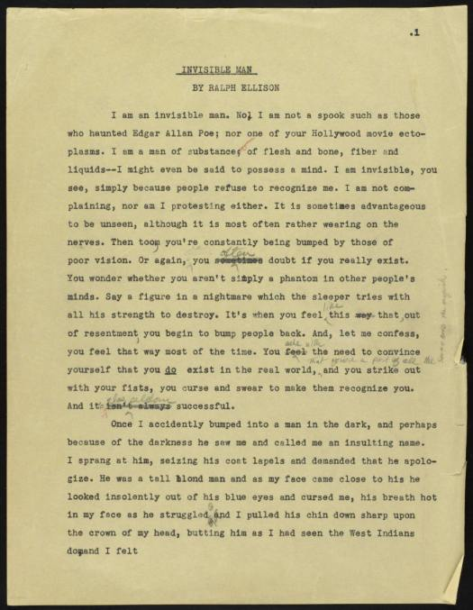 Manuscript of the first page of 'Invisible Man.'